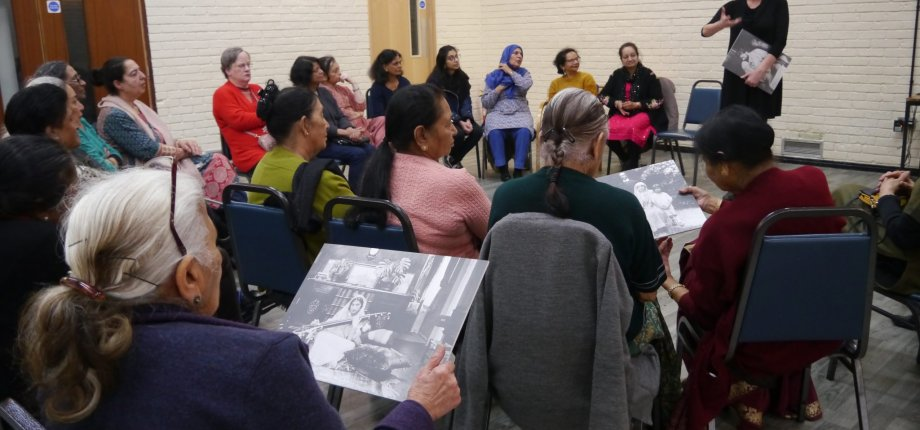 CWGC's Community Engagement Project Manager speaks to members of the SAHELI BAME group in Kingston