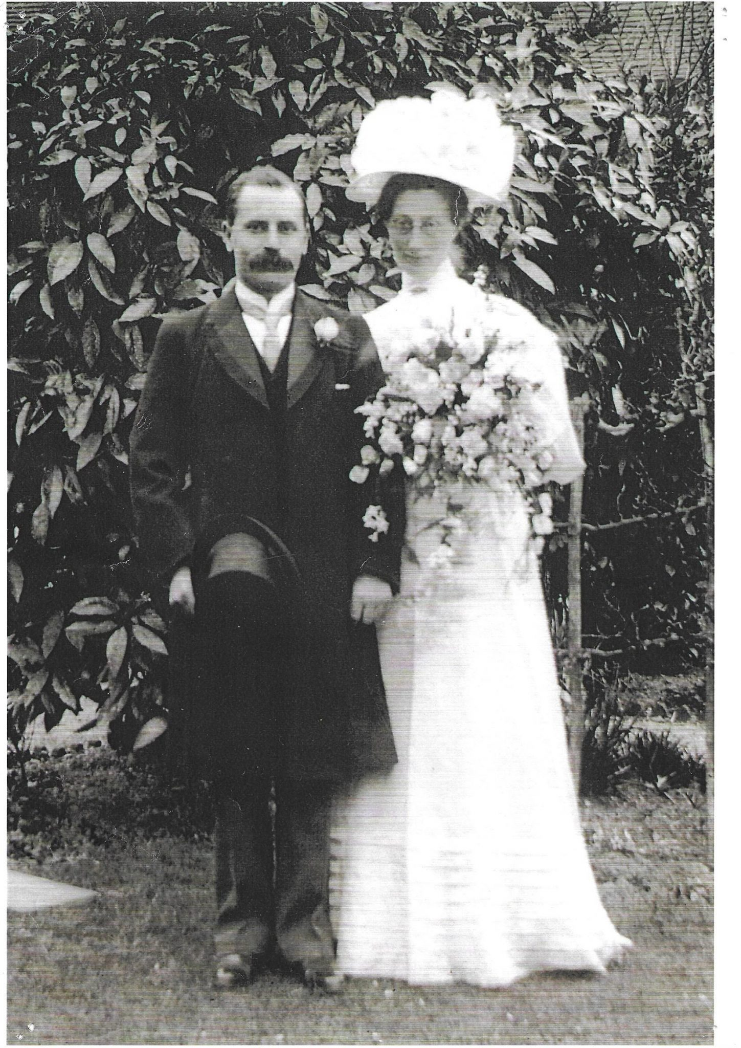 Margaret Tatchell and John Lewis on their wedding day in 1908