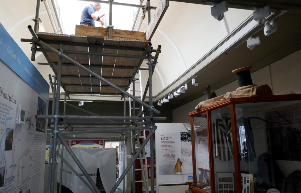 UV filter being installed at Nantwich Museum