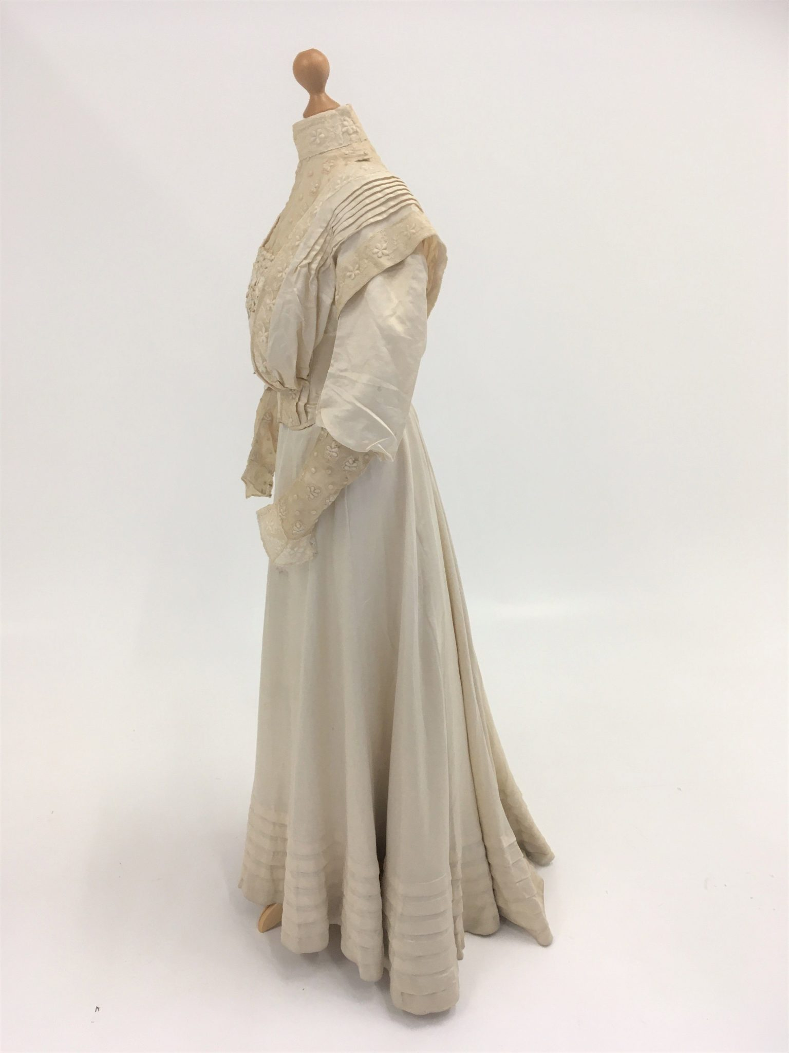 Wedding dress post conservation in the conservator's studio
