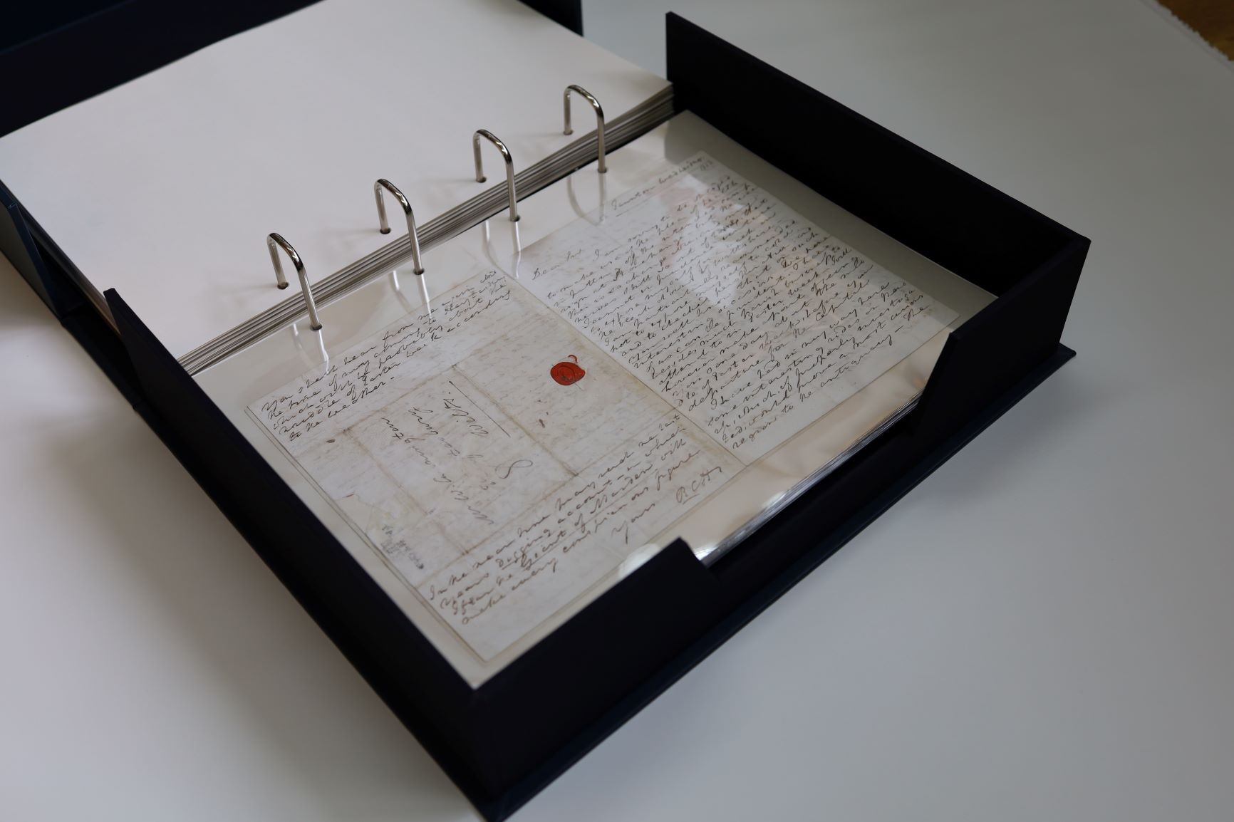 The Wiltshire Museum letter book after conservation smaller