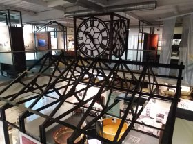 the restored clock on display within the museum it now sits on top of our factory display