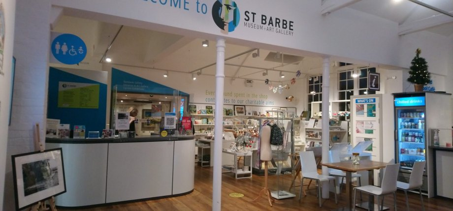 New signage at St Barbe cafe welcome desk