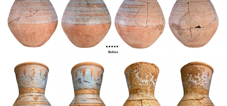 Items from The Egypt Centre before and after conservation
