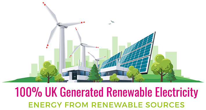 100% UK Generated Renewable Electricity from Renewable Sources - not Cropped - 25 cms