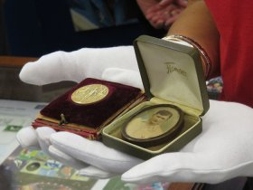 Gold Medal for hockey from the 1908 Olympic Games, awarded to Gerald Logan, England